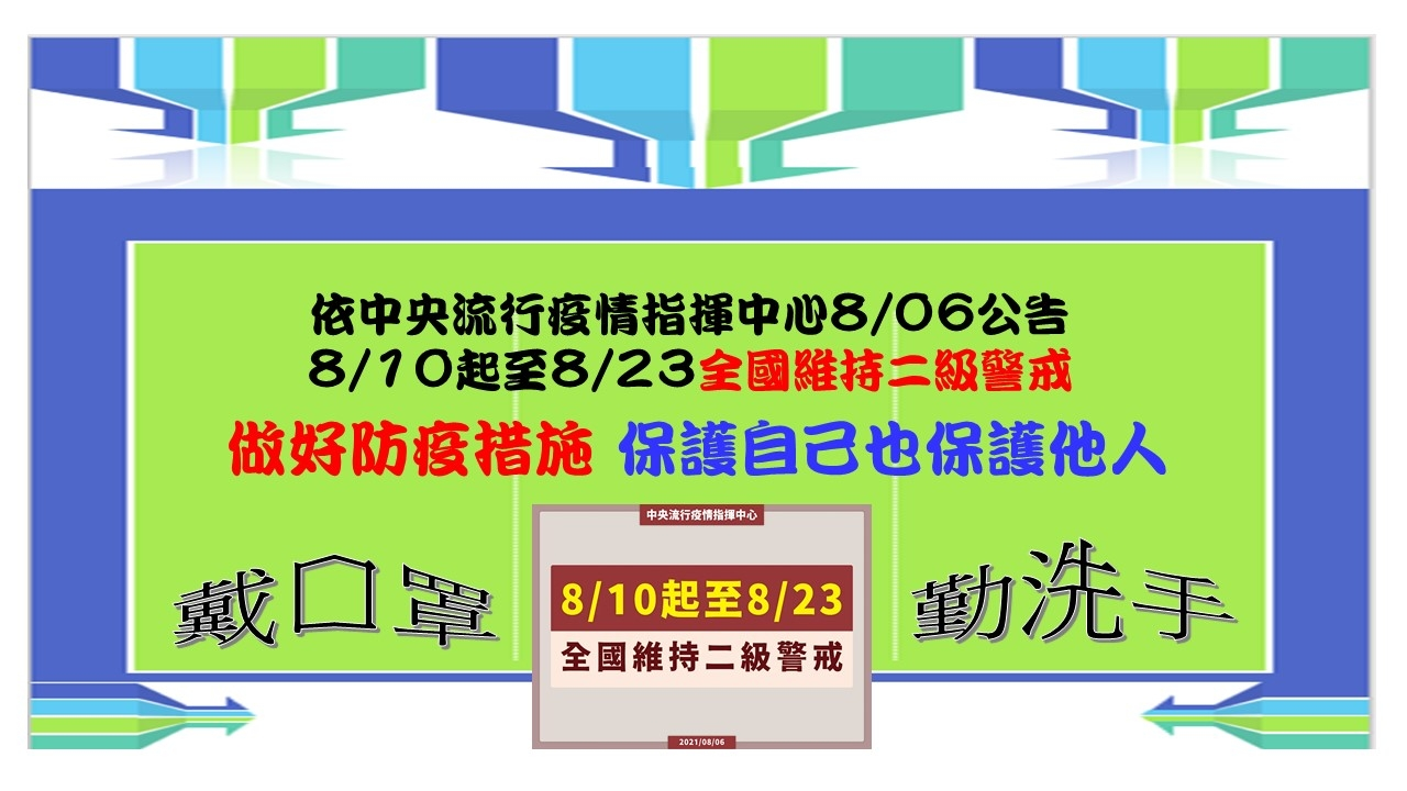 依據政府防疫規定8/10-8/23維持二級警戒圖片1